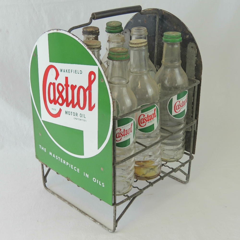 Lot 9 - A superb and rare nine bottle Castrol Motor Oils carrying crate with enamelled tin plate end panels,