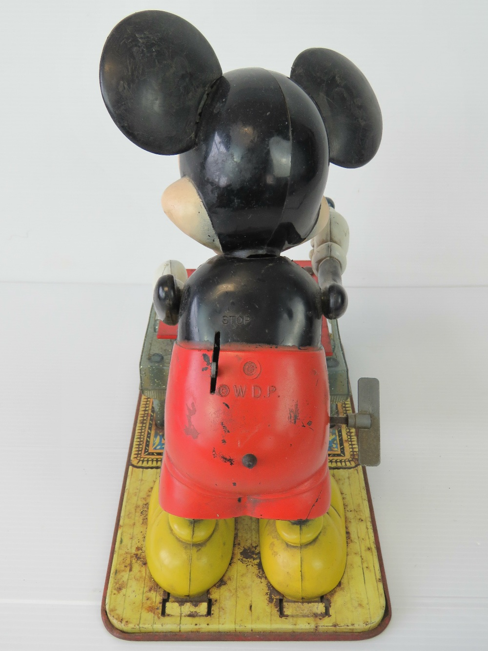 Lot 475 - A vintage wind-up clockwork Mickey Mouse playing xylophone by Walt Disney Productions c1950s,