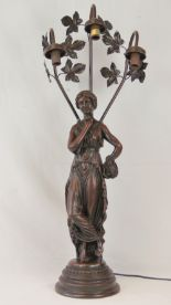 Lot 595 - A bronze patinated cast figural table lamp in the form of a classical maiden,