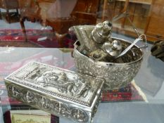 A GROUP OF EASTERN WHITE METAL AND PLATED ITEMS TO INCLUDE A DESK STAND, BOWL, CIGARETTE BOX, PRAYER