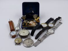 A SELECTION OF VARIOUS WATCHES, POCKET WATCHES, CUFFLINKS, ETC.