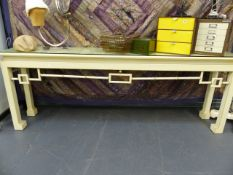 A LARGE CONTEMPORARY CONSOLE TABLE IN THE ORIENTAL STYLE.