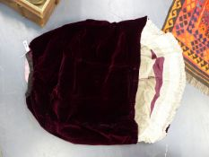 AN ANTIQUE BURGANDY SATIN AND VELVET LADIES DRESS TOGETHER WITH ASSORTED LACE ETC.