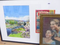 A WATERCOLOUR FOR THE COVER OF PEOPLE'S FRIEND, FRAMED WITH A PRINTED COPY OF THE MAGAZINE COVER AND