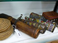TWO TRIBAL BEAD WORK ENCASED GLASS BOTTLES WITH STOPPERS AND LATER FOLK ART EXAMPLE, AN AFRICAN