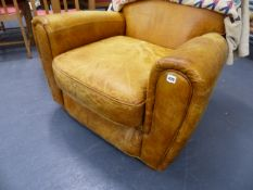 A GOOD QUALITY ART DECO STYLE LEATHER ARMCHAIR.