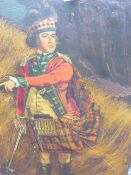 NAIVE ENGLISH SCHOOL. PORTRAIT OF A SCOTTISH HIGHLANDER OFFICER WITH HIS SWORD DRAWN, OIL ON