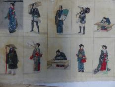 FOUR ORIENTAL WORKS, A JAPANESE WOODBLOCK PRINT OF AN INSECT, TWO FIGURAL WATERCOLOURS, UNFRAMED AND