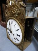 A FRENCH COMTOISE CLOCK MOVEMENT WITH ENAMEL DIAL HOUSED IN AN OVERSIZED WALNUT LONGCASE WITH A