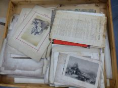 AN ARTIST'S PRINT CASE CONTAINING VARIOUS TOPOGRAPHICAL PRINTS, PHOTOGRAPHS AND EPHEMERA.