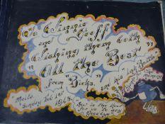 HMS TRIUMPH - NAVAL INTEREST- A HAND DRAWN ALBUM OF PEN & INK CARTOONS BY F.A. BICKERDIKE. C.