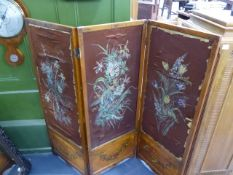 A LATE VICTORIAN SATINWOOD AND PAINT DECORATED THREE FOLD SCREEN INSET WITH PAINTED SILK PANELS. H.
