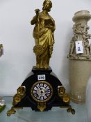 A FINE 19th.C.MYSTERY CLOCK WITH ORMOLU MOUNTS AND FIGURE SUSPENDING PENDULUM, ENAMEL DECORATED DIAL