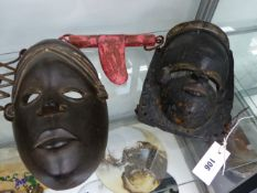 TWO ANTIQUES AFRICAN CARVED WOOD MASKS