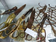 TWO PAIRS OF LARGE 19th.C.BRASS AND IRON TAILOR'S SHEARS, OTHER EARLY SCISSORS AND KNIVES TOGETHER