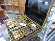 AN UNUSUALLY COMPLETE CHINESE EXPORT BLACK LACQUER GAMES BOX WITH INTERIOR TRAYS AND COVERED