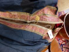 A VINTAGE EASTERN EMBROIDERED JACKET, TWO WAISTCOATS, A SHIRT AND A HALTER TOP.