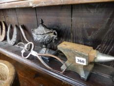 A PAIR OF 19th.C.SUGAR NIPS, A SHEEP CROOK HEAD, TWO EARLY HORSESHOES, A SMALL ANVIL AND OTHER