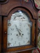 A LATE GEORGIAN OAK CASED LONG CASE CLOCK WITH 8-DAY BELL STRIKE MOVEMENT AND 33cms ARCH TOP PAINTED