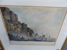 AN ANTIQUE AQUATINT PRINT OF THEE NEEDLES, ISLE OF WIGHT AND THREE OTHER LATER PRINTS.