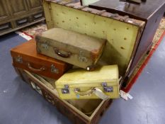 A COLLECTION OF VINTAGE LUGGAGE TO INCLUDE A WOOD SLATTED TRUNK BY BETTINI & FILS, MONTE CARLO