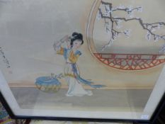 CHINESE SCHOOL. TWO WATERCOLOURS ON SILK OF MAIDENS WITH CHARACTER MARKS AND SEALS. 31 x 38cms. (2)