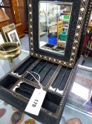 AN ANGLO INDIAN CARVED AND INLAID EBONY DRESSING CASE WITH EASEL MIRROR AND FITTED INTERIOR, OVERALL