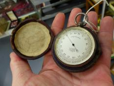 AN EARLY 20th.C.SILVER CASED POCKET BAROMETER BY J.HICKS, LONDON. THE CASE INSCRIBED 1905 COL.DE