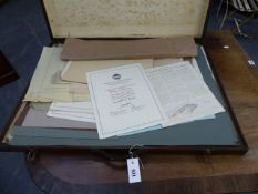 A VINTAGE ARTIST'S FOLIO CASE CONATINING EARLY 20th.C.ACADEMIC AND ARCHITECTURAL DRAWINGS BY