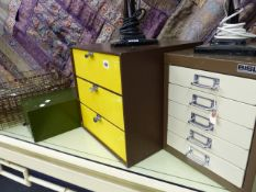 VARIOUS MID CENTURY FILE DRAWERS.