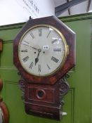 A LATE GEORGIAN DROP DIAL FUSEE WALL CLOCK WITH STRIKING MOVEMENT, THE DIAL SIGNED INDISTINCTLY....