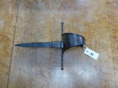 AN EARLY LEFT HAND GUARD DAGGER WITH CUT STEEL BLADE, BROAD CROSS GUARD AND PLAIN STEEL HILT, WIRE