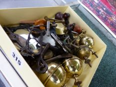 A LARGE COLLECTION OF ANTIQUE AND LATER CLOCK KEYS, CUT STEEL CLOCK HANDS, FINIALS,ETC.