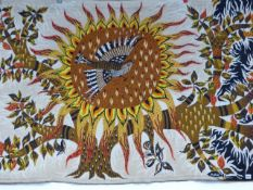 A LARGE MID CENTURY ARTS AND CRAFTS WOVEN TEXTILE SIGNED M.RAY.