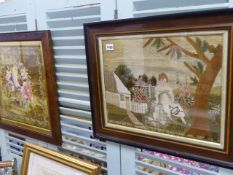 TWO 19th.C.WOOLWORK AND EMBROIDERED PICTURES.