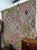 A LARGE 19th.C.PATCHWORK PANEL. APPROX 190 x 210cms.