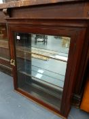 AN ANTIQUE MAHOGANY GLAZED CABINET WITH MIRRORED BACK.