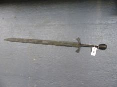 A LARGE MEDIEVAL TYPE BROADSWORD IN RELIC CONDITION