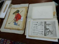 A SMALL COLLECTION OF UNFRAMED ANTIQUE AND LATER PRINTS, PICTURES,ETC TO INCLUDE A GROUP OF 18th.C.