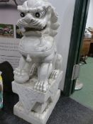 AN IMPRESSIVE PAIR OF CHINESE CARVED WHITE MARBLE FOO LIONS ON INTEGRAL PLINTHS. H.108cms.