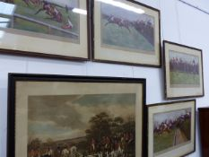 FOUR VINTAGE COLOUR STEEPLE CHASE PRINTS AFTER CECIL ALDIN, ALL PENCIL SIGNED 38 x 66cms TOGETHER