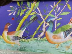 A PAIR OF CHINESE STYLE WATERCOLOURS ON SILK WALLPAPER OF BIRDS AMIDST FOLIAGE BY FROMENTAL. 92 x