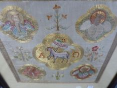 A FINE MEDIEVAL STYLE NEEDLEPOINT PANEL OF A SAINT IN MOULDED OAK FRAME BY ROWLEY TOGETHER WITH AN