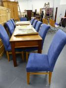 A SET OF TEN GOOD QUALITY MODERN SUEDE UPHOLSTERED DINING CHAIRS.