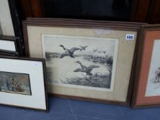 ENGLISH 20th.C.SCHOOL. TWO PENCIL SIGNED ETCHINGS OF DUCKS TOGETHER WITH OTHER VICTORIAN PRINTS.