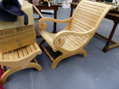 A GOOD QUALITY HARDWOOD STEAMER CHAIR AND STOOL.