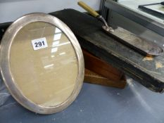 A HALLMARKED SILVER OVAL PHOTO FRAME, VARIOUS PLATED CUTLERY AND IVORY BACKED BRUSHES,ETC.
