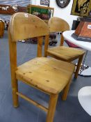 A SET OF FOUR DANISH 1970S PINE SIDE CHAIRS BY RAINER DAUMILLER