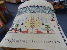A MID CENTURY EMBROIDERED BED THROW.