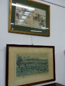 TWO VINTAGE COLOUR SPORTING PRINTS AFTER CECIL ALDIN, ONE PENCIL SIGNED. LARGEST 38 x 63cms.